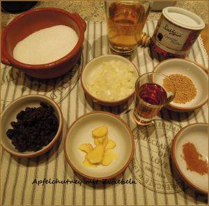 Apfelchutney-Zutaten